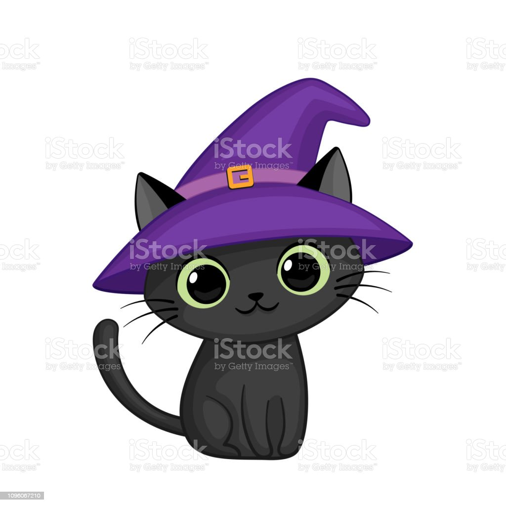 Vector Cute Cartoon Cat In Witch Hat Stock Illustration Download Image Now Istock