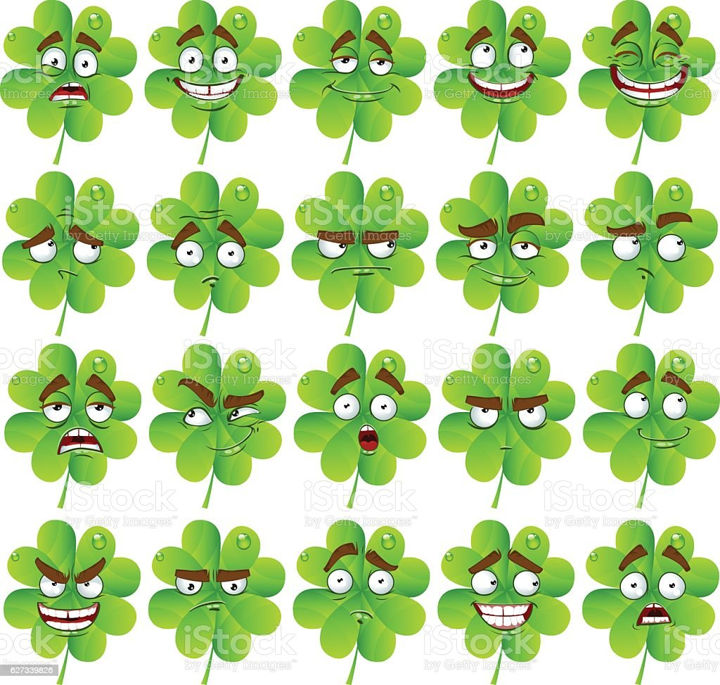 vector cute cartoon fourleaf clover with many expressions