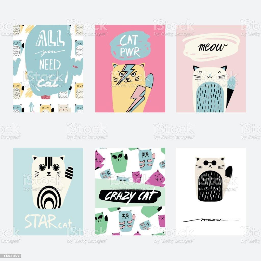 Vektor Niedlichen Cartoon Grußkarten Set Mit Katzen. Hand Gezeichnet Spaß  Vorlage Für Karten, Flyer
