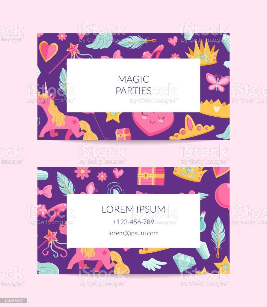 Vector cute cartoon magic and fairytale business card template stock vector cute cartoon magic and fairytale business card template royalty free vector cute cartoon magic friedricerecipe Choice Image