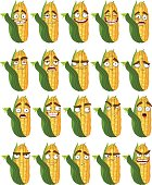 Vector cute cartoon maize smile with many expressions