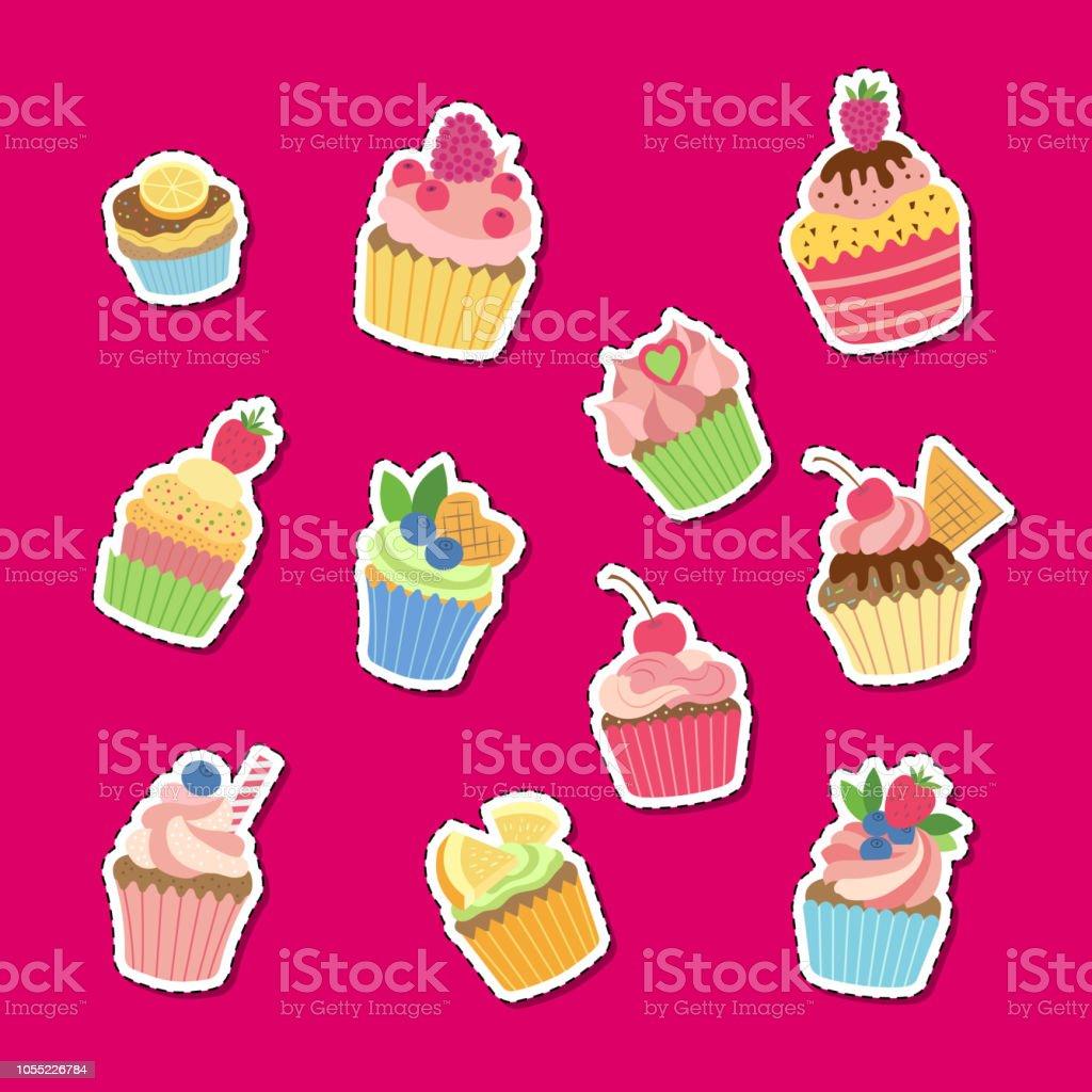 Ilustración De Set De Pegatinas De Muffins O Magdalenas De Dibujos