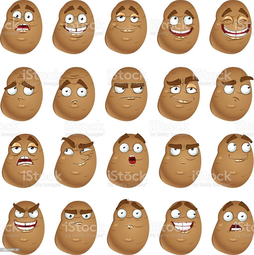 Vector cute cartoon potatoes smile with many expressions - ilustração de arte em vetor