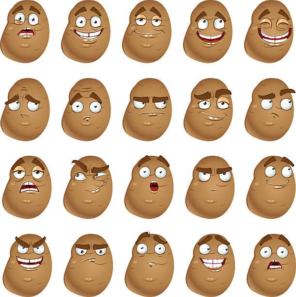 vector cute cartoon potatoes smile with many expressions - kartoffeln stock-grafiken, -clipart, -cartoons und -symbole
