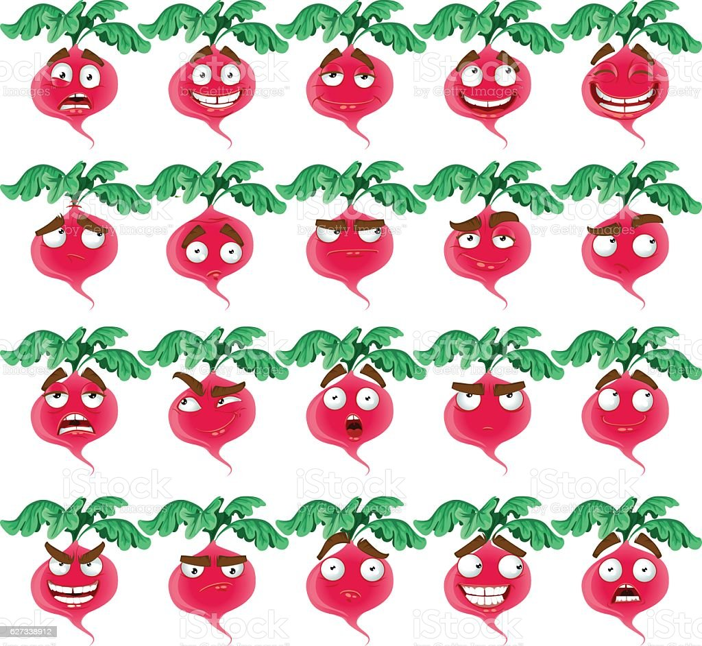 Vector cute cartoon radish smile with many expressions vector art illustration