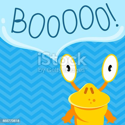 istock Vector cute cartoon screaming monster with speech bubble on zig zag background 855770618