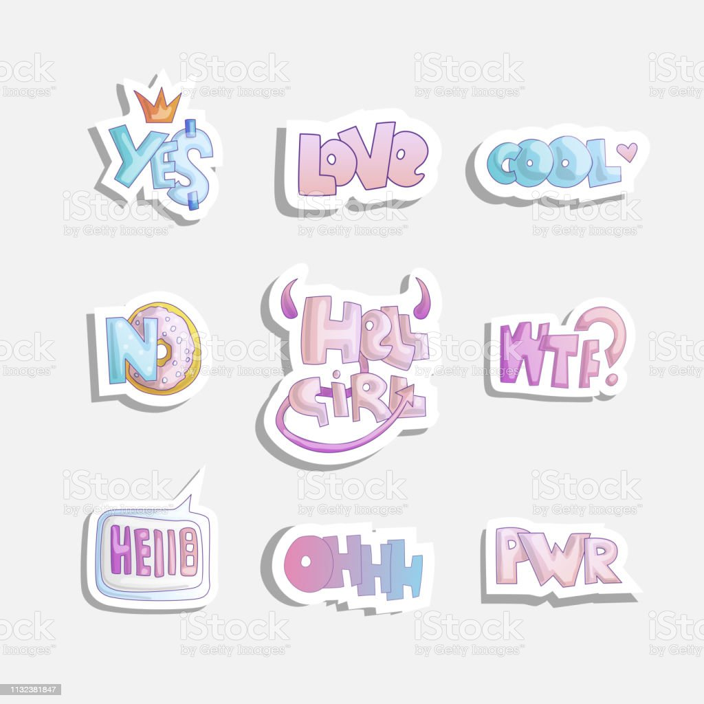 Vector cute cartoon set of fashion girly phrases and words yes no hell girl and other word stickers on fashion girl sticker theme