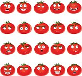 Vector cute cartoon tomato smile with many expressions