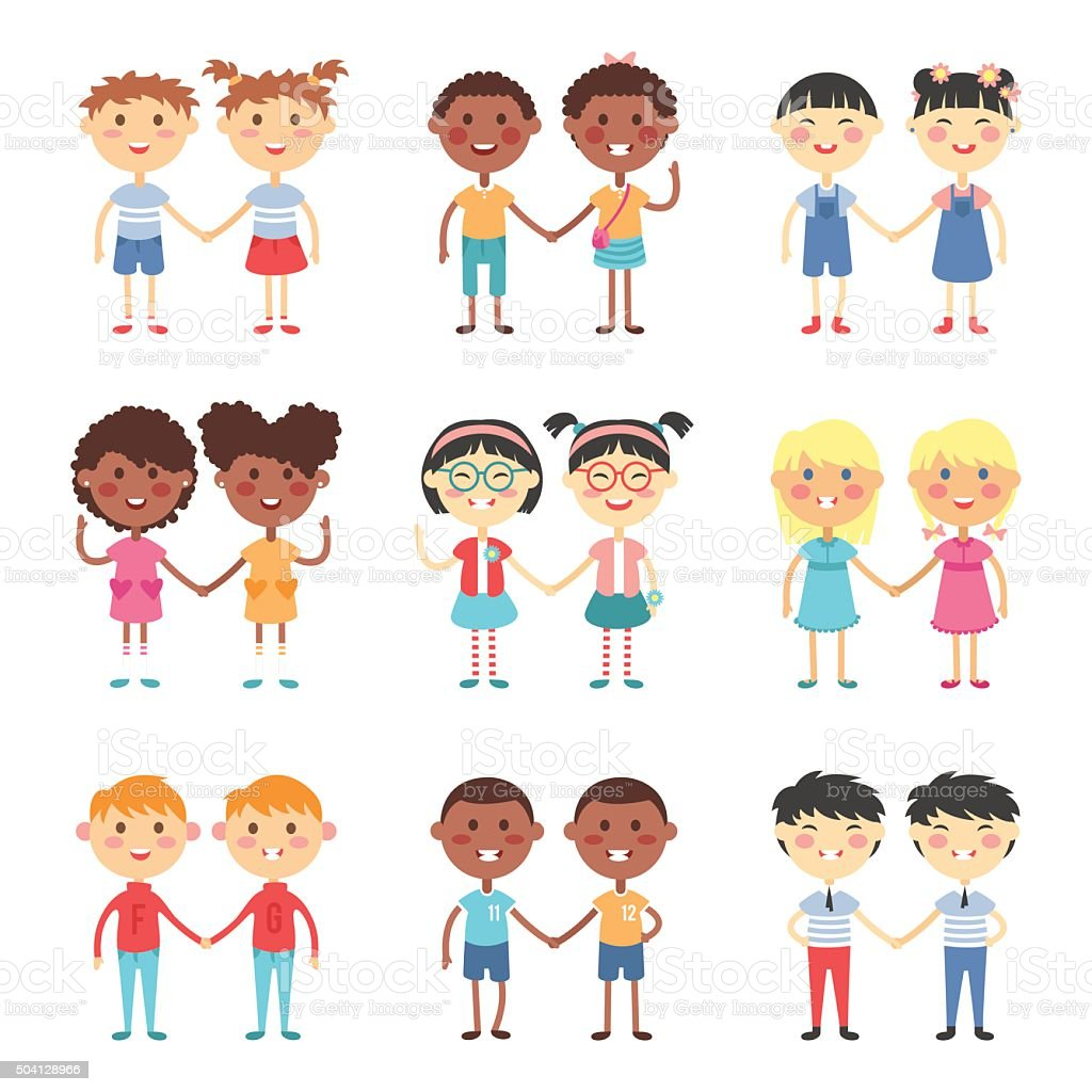 Vector cute cartoon twins brothers and sisters vector art illustration