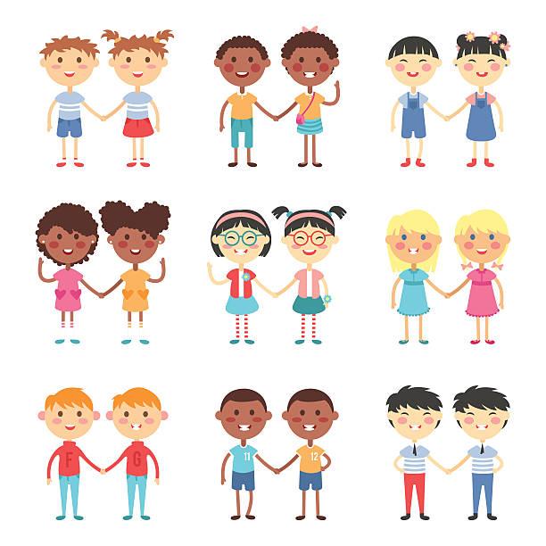 ilustrações, clipart, desenhos animados e ícones de bonito dos desenhos animados vetor irmãos e irmãs gêmeas - irmã