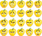 Vector cute cartoon yellow Bulgarian pepper smile