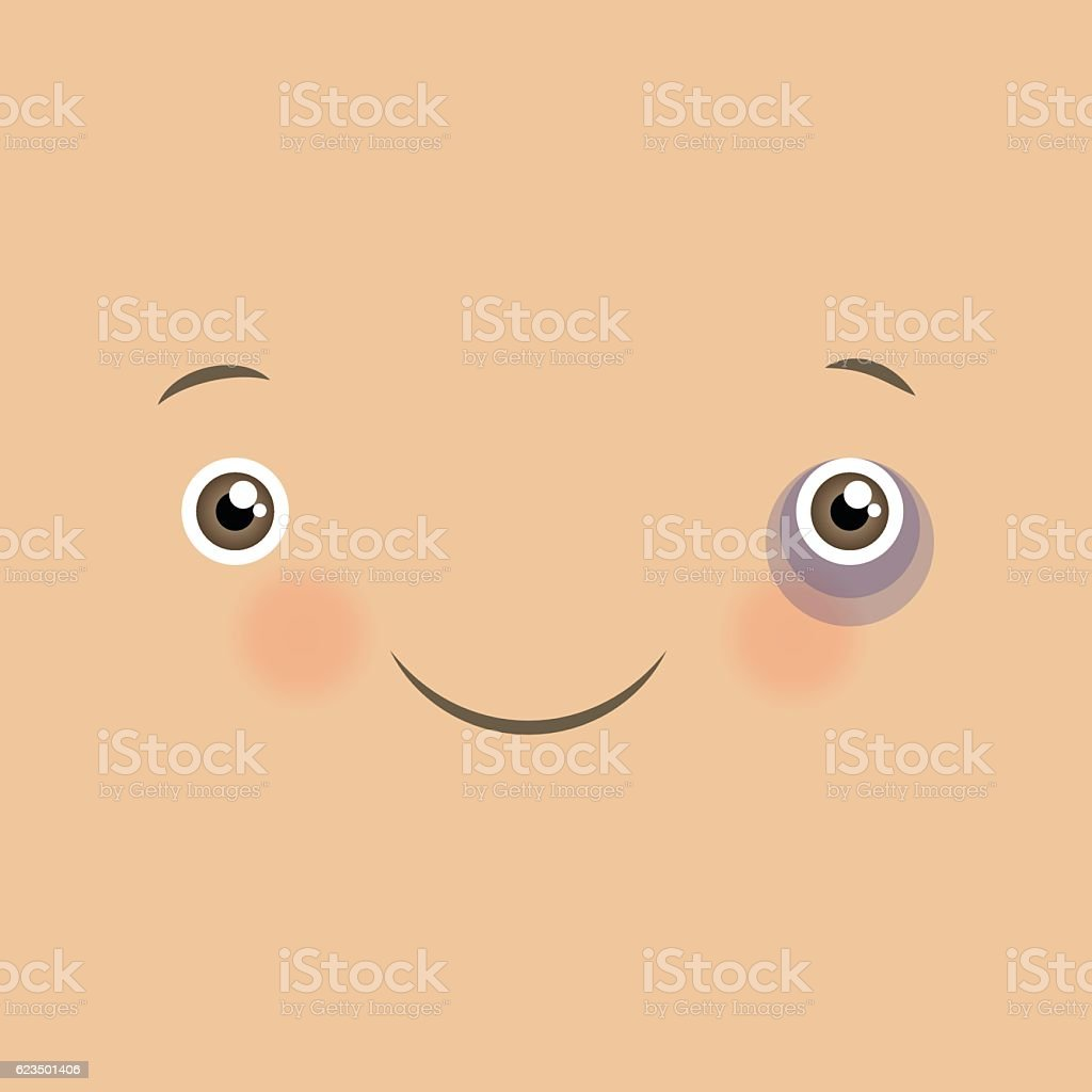 Vector cute emoticon with smile. vector art illustration