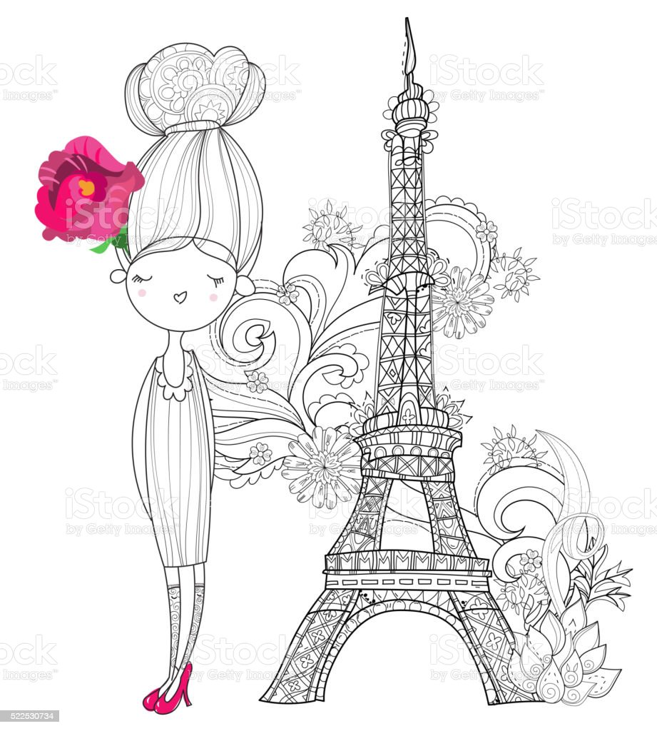 Vector Cute Fashion Girl In Paris Royalty Free Stock