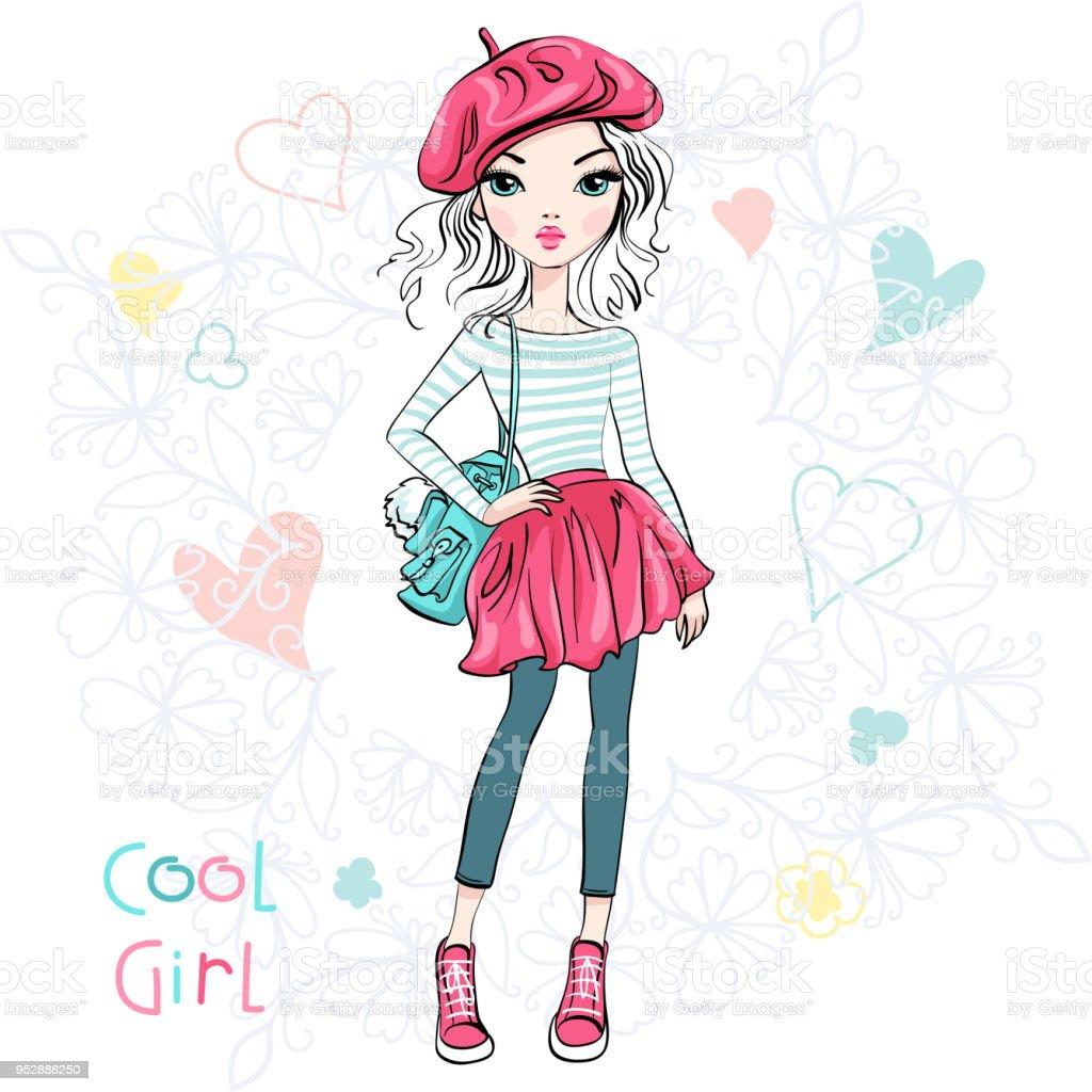 ベクトルかわいいおしゃれな女の子 Tシャツのベクターアート素材や画像を多数ご用意 Istock