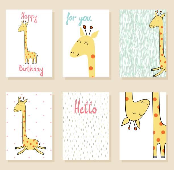 vektor niedliche giraffe - giraffenhumor stock-grafiken, -clipart, -cartoons und -symbole