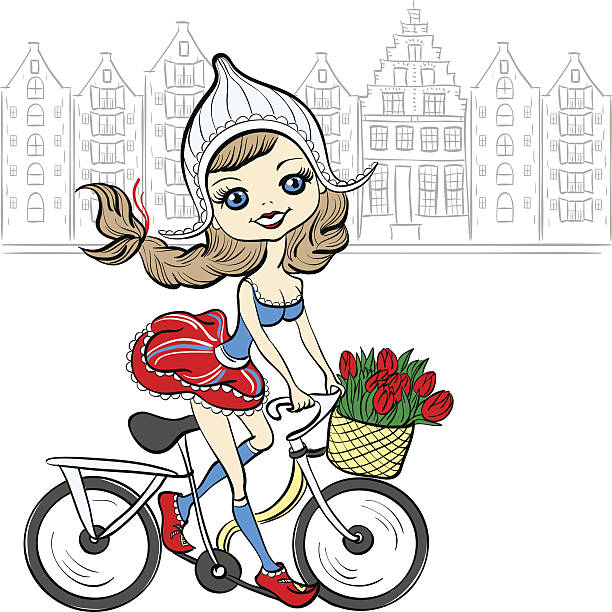 vector cute girl on the bike in amsterdam - dutch traditional clothing stock illustrations, clip art, cartoons, & icons