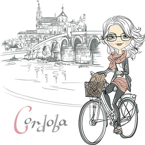 vector cute girl rides a bicycle in cordoba - lustige fahrrad stock-grafiken, -clipart, -cartoons und -symbole