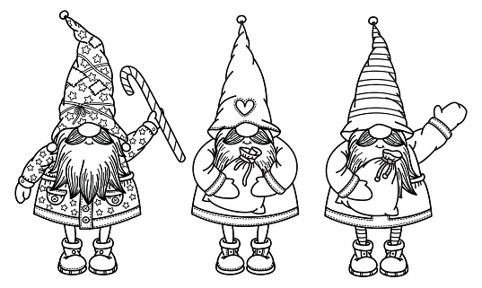 Vector  cute gnomes cartoons, black  silhouette isolated on white for  kids coloring.
