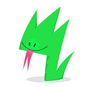 Vector cute green snake cartoon character
