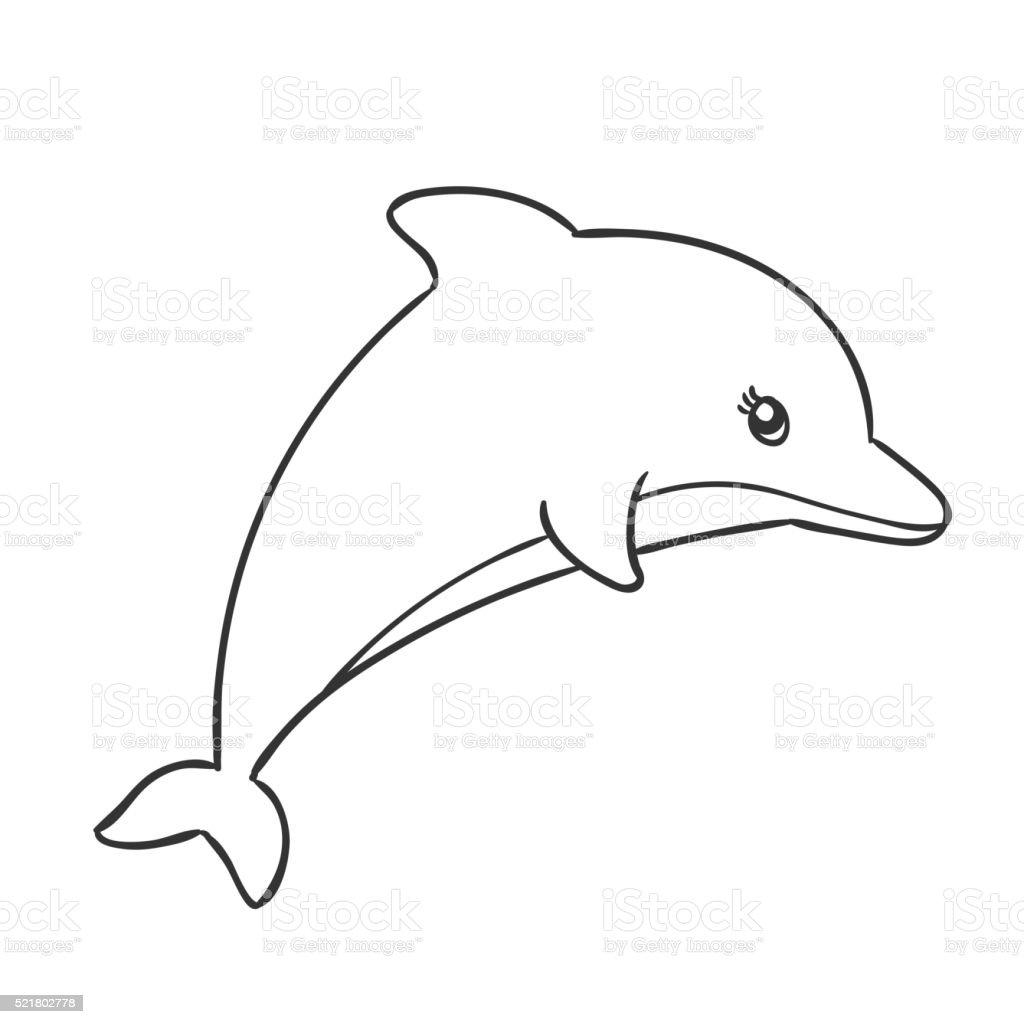 vector cute hand drawn dolphin stock vector art 521802778 istock