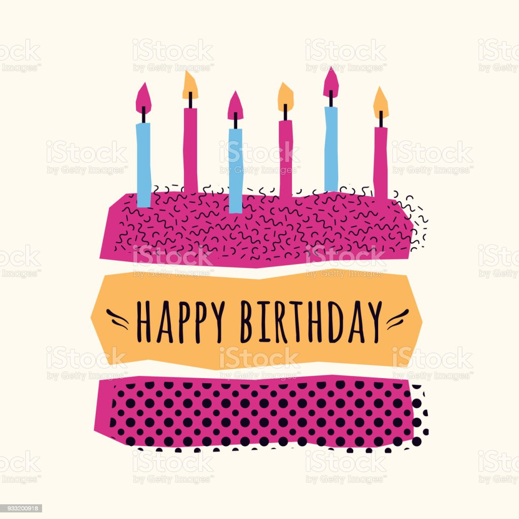 Vector Cute Happy Birthday Card With Cake Candles And Geometric Elements Royalty Free