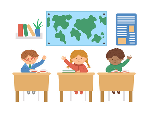 Vector cute happy schoolchildren sitting at the desks with hands up. Elementary school classroom illustration. Clever kids at the lesson. Boys and girl ready to answer teacher's question.