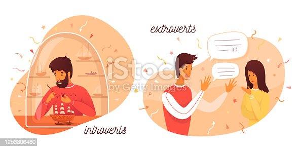 istock Vector cute illustration introverts and extroverts 1253306480