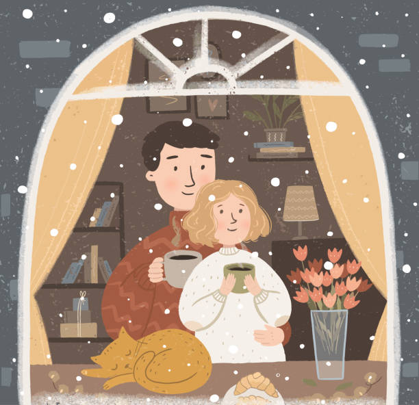 Vector cute illustration of a happy family or couple in love drinking hot coffee or tea near the window with a pet. Winter card for new year, christmas or valentines day Vector cute illustration of a happy family or couple in love drinking hot coffee or tea near the window with a pet. Winter card for new year, christmas or valentines day couple stock illustrations