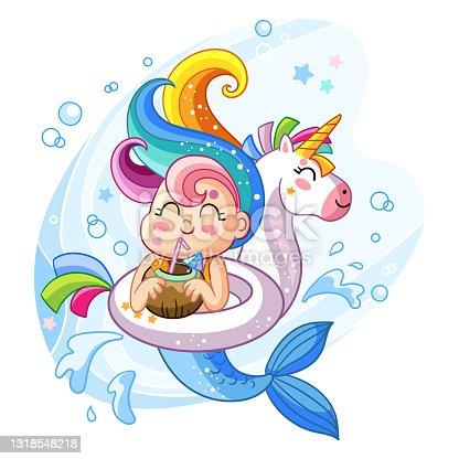 Vector cute kawaii mermaid in inflatable circle