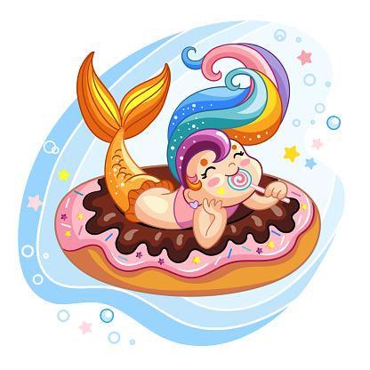 Vector cute kawaii mermaid lying on a donut