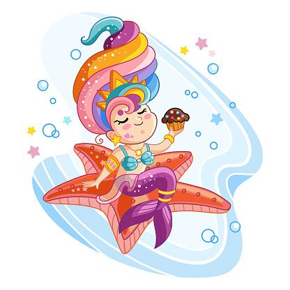 Vector cute kawaii mermaid sitting on a starfish