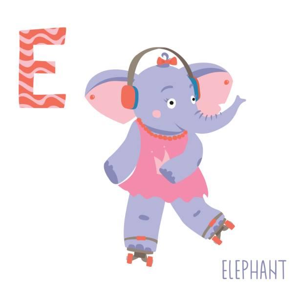 illustrations, cliparts, dessins animés et icônes de alphabet animaux de vecteur enfants mignons. lettre e pour l'éléphant - enseignant(e) en maternelle