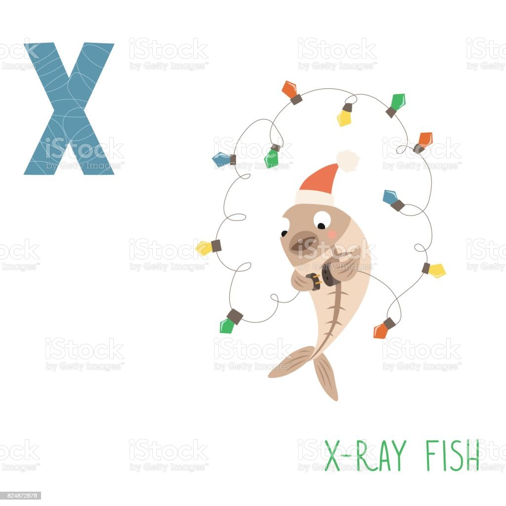 Vector cute kids animal alphabet. Letter X for X-ray fish vector art illustration