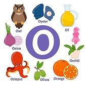 Vector cute kids animal alphabet. Letter O. Set of cute cartoon illustrations.