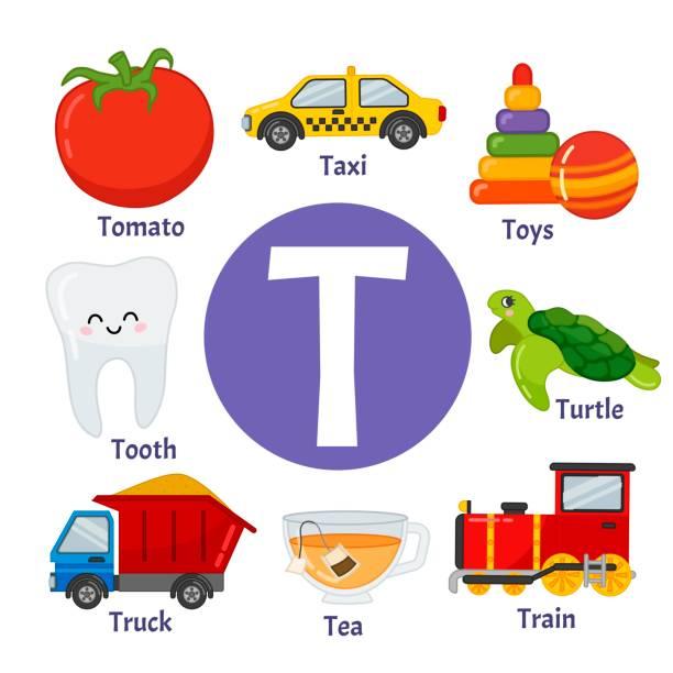 Vectores De Letra T Con Tomate Ilustración Dibujo Animado E