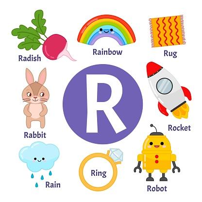 Vector cute kids animal alphabet.