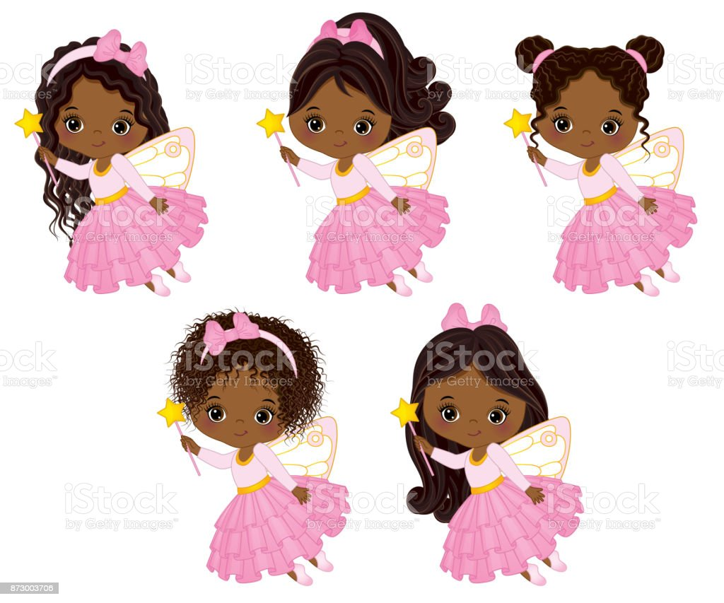 Vector Cute Little African American Fairies with Various Hairstyles vector art illustration