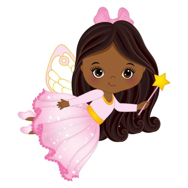 Vector Cute Little African American Fairy with Magic Wand vector art illustration