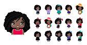 Vector cute little African American girls