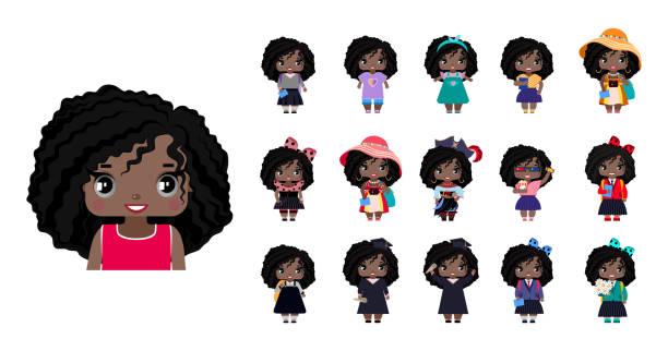 Vector cute little African American girls vector art illustration