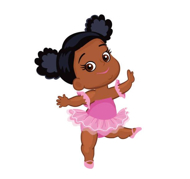 Vector cute little baby African American ballerina in tutu dresses. vector art illustration