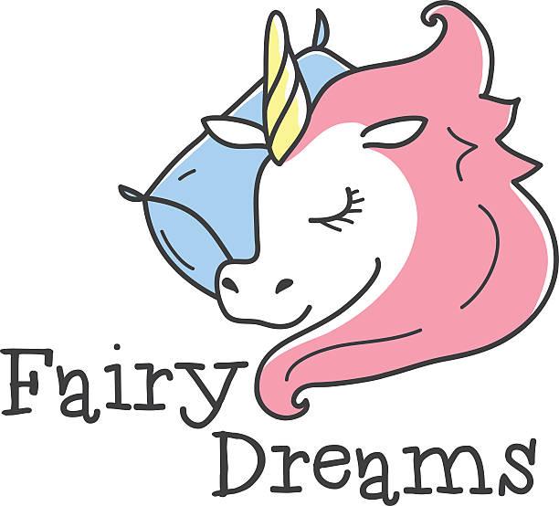 ilustrações de stock, clip art, desenhos animados e ícones de vector cute logótipo. mulher dormir unicórnio logótipo. cama de roupa loja - unicorn bed