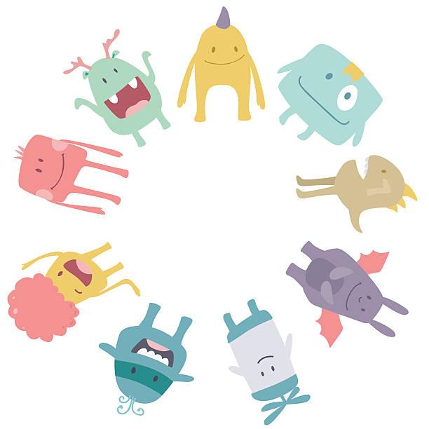Vector cute monsters frame vector art illustration