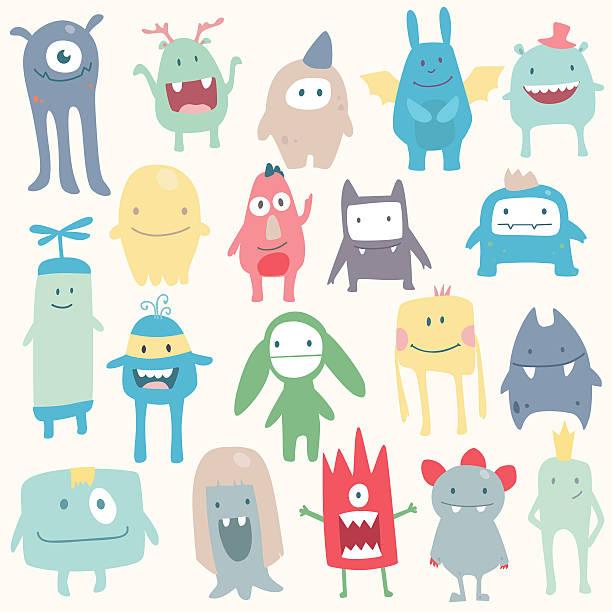ilustraciones, imágenes clip art, dibujos animados e iconos de stock de conjunto de vector monada monstruos - monstruo