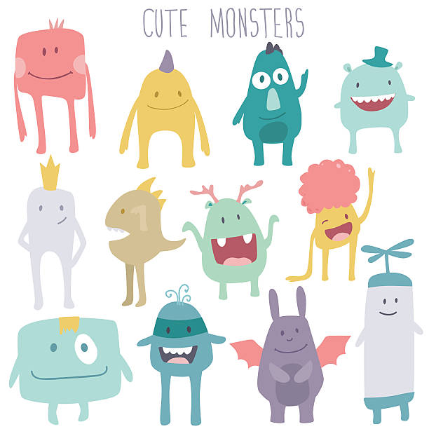 Vector cute monsters set collection vector art illustration