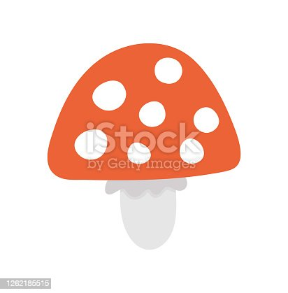Vector cute mushroom. Autumn flat style plant. Funny death cap or toadstool illustration isolated on white background