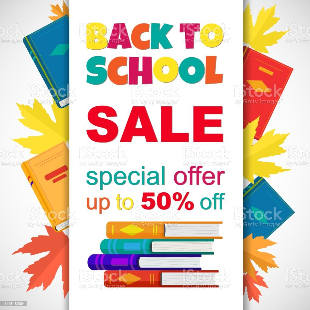 Vector Cute Poster Back To School Sale On White Background Vector Education Banner With Color Books Autumn Leaves And Funny Inspiration Text Ready Design For Web Social Media Offers Card Stock Illustration