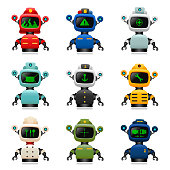 Vector illustration of cute robot professions set. Separate layers for easy editing. For different versions of set please check my portfolio.