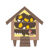 Vector cute roost icon with hatching chicks and hen inside. Funny perch illustration for kids. Farm or garden birds house isolated on white background. Hen-coop picture