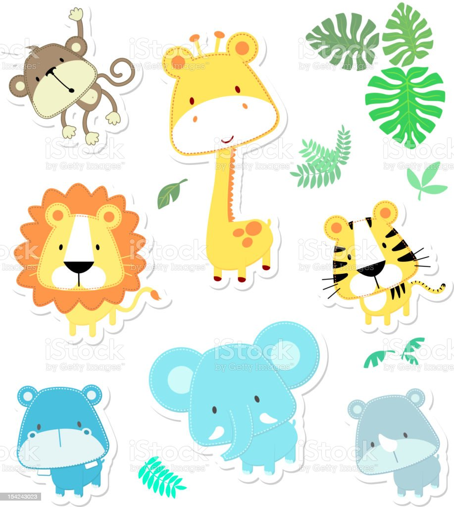 vector cartoon illustration of seven baby animals and jungle leaves,...